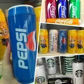 Термокружки банки Кока-кола,  Старбакс «starbucks», Миньон, Пепси, Иероглиф,