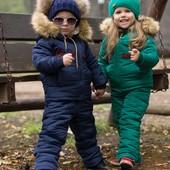 Новинки 2019! Теплые детские зимние комбинезоны и подростковые куртки до 158см