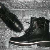 Стильные кожаные зимние ботинки