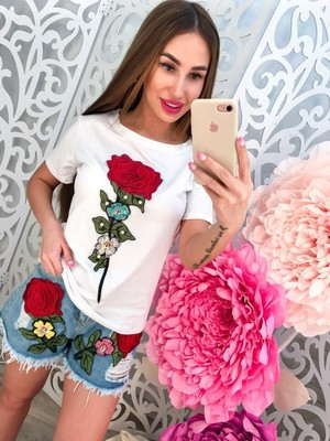 8089db1e5c9 Шикарные!!!!Лето-2019!!!Женские летние костюмы джинсовые шорты и  футболка.Джинсы и футболка!!