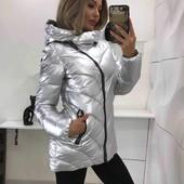 Женская зимняя куртка на холофайбере с высоким воротником,также короткая золотистая куртка!!