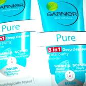 Оригинал Garnier 3in1(гель+скраб+маска)!От угрей,чёрных точек,жирного блеска!1 саше с дост.Уп=70 грн
