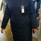 Зимнее пальто пуховик от производителя р. 50-60 в наличии  модель стройнит