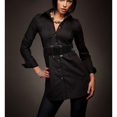 Черная женская классические удлиненные рубашка, идут в компекте с поясом