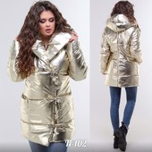 Трендовая модель сезона! Блестящие зимняя куртка р.42-48