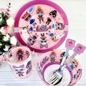 Детская посуда стекло толстое 5 предметов с героями мультиков