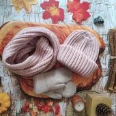 Теплые вязаные комплекты шапка и двойной снуд, много цветов! Мои фото, качество!