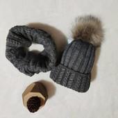 Шапка+об'ємний хомут, чудові якісні комплекти за помірну ціну! 50/50 шерсть/акрил