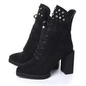 Ботинки, ботильоны, зима, замшевые, квадратный каблук