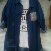 Женская 2-ка футболка и джинсовая рубашка