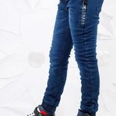 Утеплённые джинсы-джоггеры. В наличии 158.