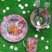 Детский набор посуды 3 и 5 предметов с мультяшными героями большой выбор
