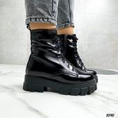 Кожаные ботинки зима,