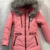 Cп.Зимняя на овчинке куртка для девочки хорошо садится по фигуре, комфортная в носке.