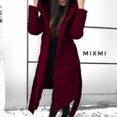 Теплые пальто на синтепоне с капюшоном