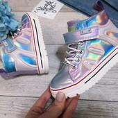 Модные деми ботинки для девочек с переливами 28-33