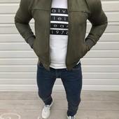 Мужская куртка «замша» и мужская ветровка «лакоста»