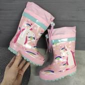 Резинові сапожки для дівчаток і хлопчиків Флісовий носок знімається!(є на овчині)